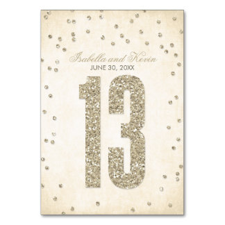 Glitter Look Confetti Wedding Table Numbers - 13 Card