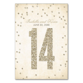 Glitter Look Confetti Wedding Table Numbers - 14 Table Card