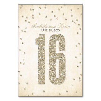 Glitter Look Confetti Wedding Table Numbers - 16 Table Cards
