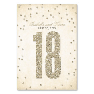 Glitter Look Confetti Wedding Table Numbers - 18 Table Cards
