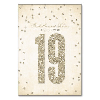 Glitter Look Confetti Wedding Table Numbers - 19 Table Cards
