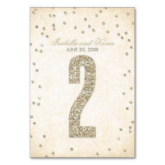 Glitter Look Confetti Wedding Table Numbers - 2