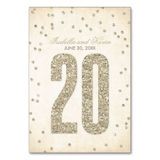 Glitter Look Confetti Wedding Table Numbers - 20 Table Cards