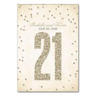 Glitter Look Confetti Wedding Table Numbers - 21 Table Cards