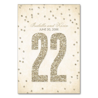 Glitter Look Confetti Wedding Table Numbers - 22 Table Card