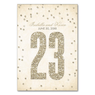 Glitter Look Confetti Wedding Table Numbers - 23 Table Card