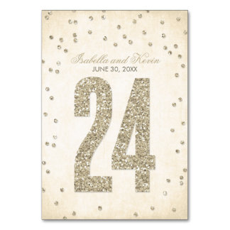 Glitter Look Confetti Wedding Table Numbers - 24 Table Cards