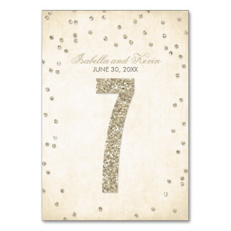 Glitter Look Confetti Wedding Table Numbers - 7 Table Cards
