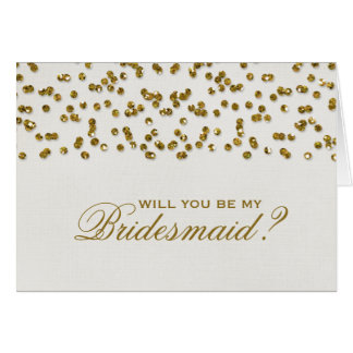 Glitter Look Confetti Will You Be My Bridesmaid Greeting Card