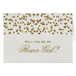 Glitter Look Confetti Will You Be My Flower Girl? Greeting Cards