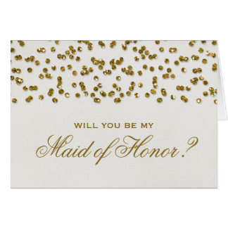 Glitter Look Confetti Will You Be My Maid of Honor Stationery Note Card