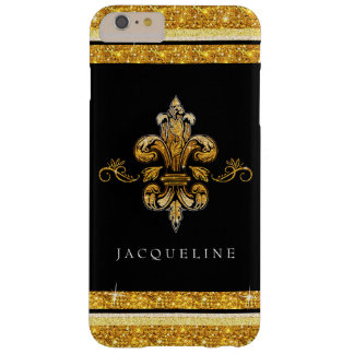 Glitter Look Faux Gold Black French Fleur de Lis Barely There iPhone 6 Plus Case