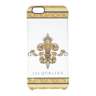 Glitter Look Faux Gold Black French Fleur de Lis Clear iPhone 6/6S Case