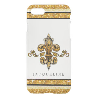 Glitter Look Faux Gold Black French Fleur de Lis iPhone 8/7 Case