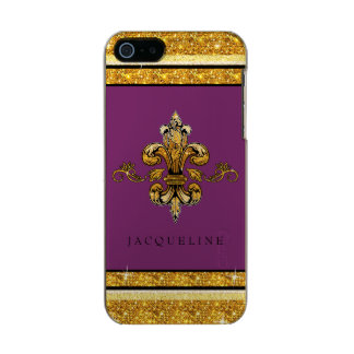 Glitter Look Faux Gold Black French Fleur de Lis Metallic iPhone SE/5/5s Case