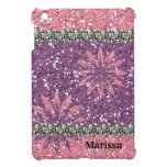 Glitter Look Girl Pink Purple Floral Personalized iPad Mini Cases