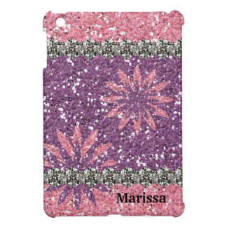 Glitter Look Girl Pink Purple Floral Personalized iPad Mini Cover