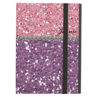 Glitter Look Pink Purple Rhinestones Personalized iPad Air Covers