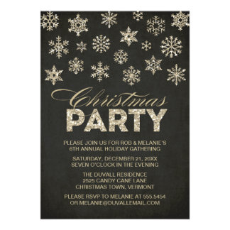 Glitter Look Snowflakes Christmas Party Invitation