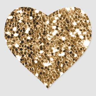 Glitter Look Solid Gold Sparkle Heart Sticker