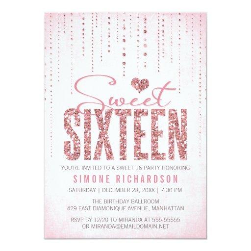 "Glitter Look Sweet 16 (Sixteen) Party 5"" X 7"" Invitation Card"
