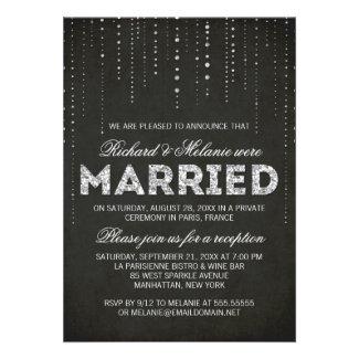 Glitter Look Wedding Reception Only Invitation