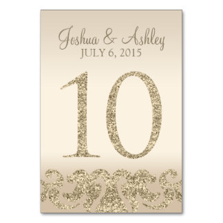 Glitter Look Wedding Table Numbers-Table Card 10 Table Card