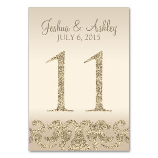 Glitter Look Wedding Table Numbers-Table Card 11 Table Cards
