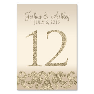 Glitter Look Wedding Table Numbers-Table Card 12 Table Card