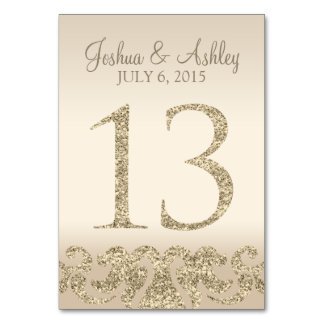 Glitter Look Wedding Table Numbers-Table Card 13 Table Cards