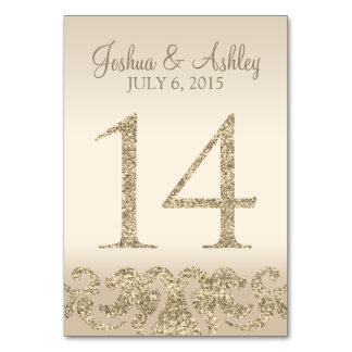 Glitter Look Wedding Table Numbers-Table Card 14 Table Cards