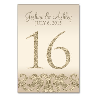 Glitter Look Wedding Table Numbers-Table Card 16