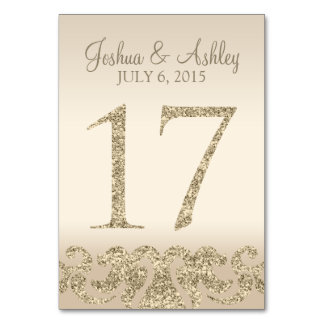 Glitter Look Wedding Table Numbers-Table Card 17