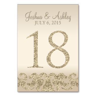 Glitter Look Wedding Table Numbers-Table Card 18