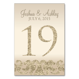 Glitter Look Wedding Table Numbers-Table Card 19