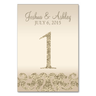Glitter Look Wedding Table Numbers-Table Card 1 Table Cards