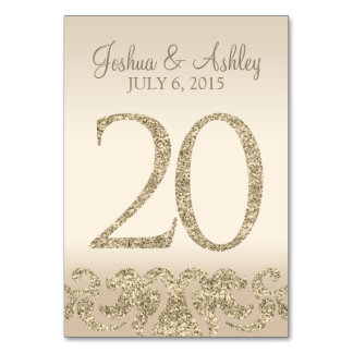 Glitter Look Wedding Table Numbers-Table Card 20