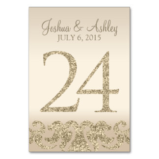 Glitter Look Wedding Table Numbers-Table Card 24