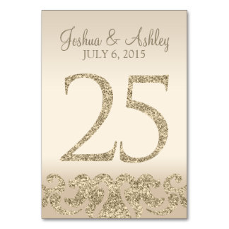 Glitter Look Wedding Table Numbers-Table Card 25