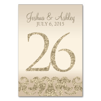 Glitter Look Wedding Table Numbers-Table Card 26