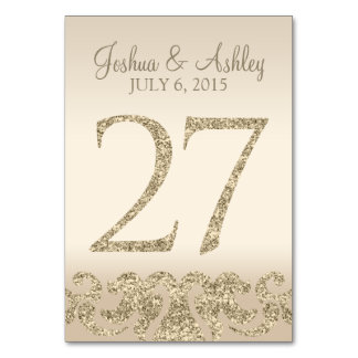Glitter Look Wedding Table Numbers-Table Card 27 Table Cards