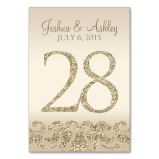 Glitter Look Wedding Table Numbers-Table Card 28