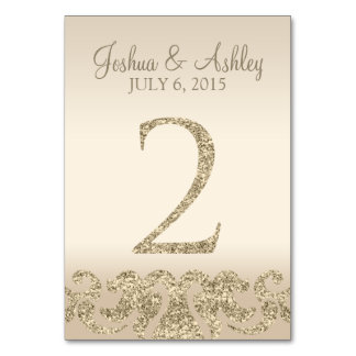Glitter Look Wedding Table Numbers-Table Card 2 Table Cards