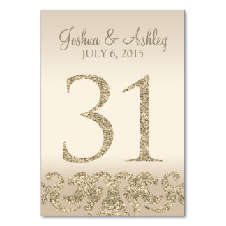 Glitter Look Wedding Table Numbers-Table Card 31