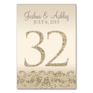 Glitter Look Wedding Table Numbers-Table Card 32