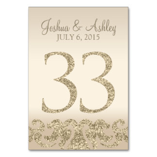 Glitter Look Wedding Table Numbers-Table Card 33