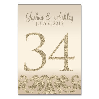 Glitter Look Wedding Table Numbers-Table Card 34