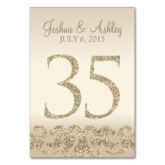 Glitter Look Wedding Table Numbers-Table Card 35