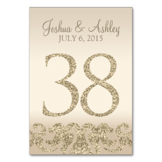 Glitter Look Wedding Table Numbers-Table Card 38