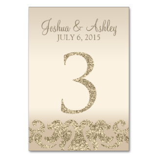 Glitter Look Wedding Table Numbers-Table Card 3 Table Cards
